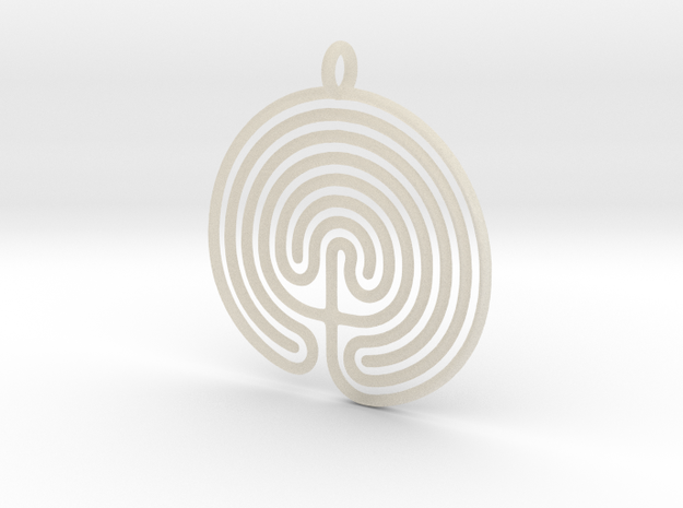 Labyrinth Pendant in White Acrylic