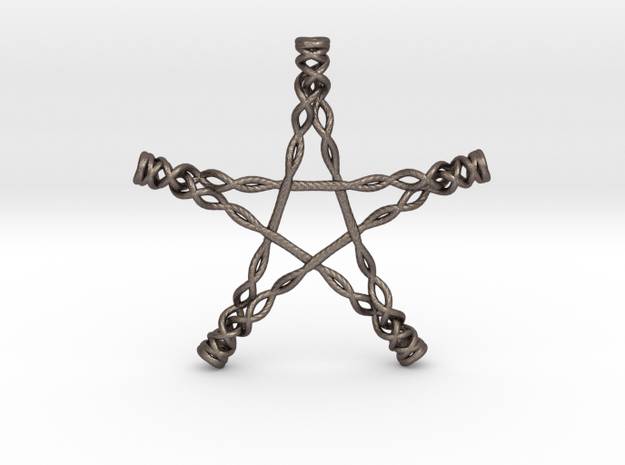 Twisted Pentagram in Polished Bronzed Silver Steel