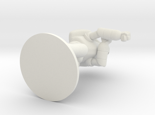 Combat Shell, 70mm, Flat Base in White Natural Versatile Plastic