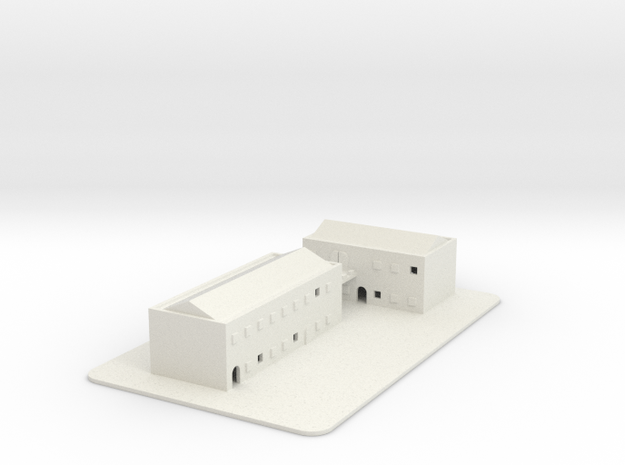 1/700 Town Buildings And Road in White Natural Versatile Plastic