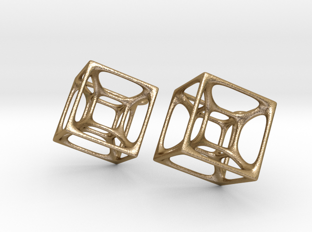 Hypercube Earrings in Polished Gold Steel