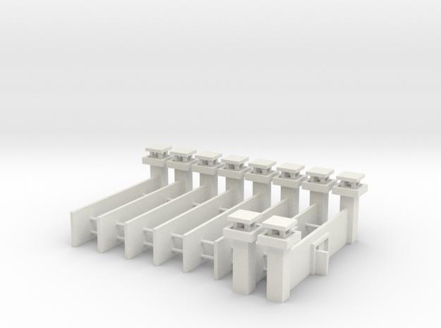 1/700 Prison Camp Wall Set (x8) in White Natural Versatile Plastic