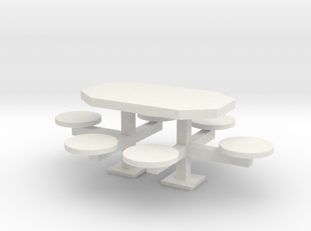 scale 1:24 Picnic Table in White Natural Versatile Plastic