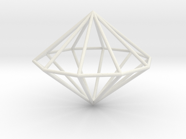 Decagonal dipyramid 70mm in White Natural Versatile Plastic