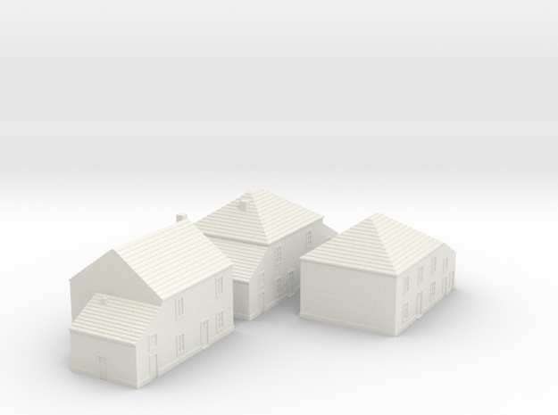 1/350 Village Houses 4 in White Natural Versatile Plastic