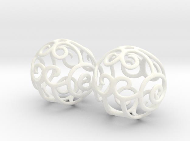 Filigree Sphere EARRINGS  in White Processed Versatile Plastic