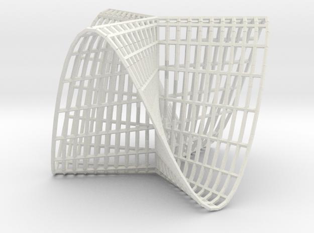 Pluecker's conoid k=3 in White Natural Versatile Plastic