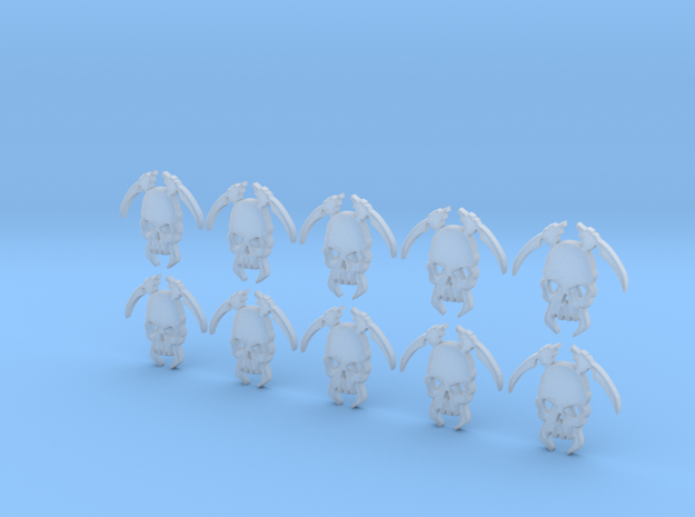 10 30mm Tall Skull Scythe Icons 3d printed