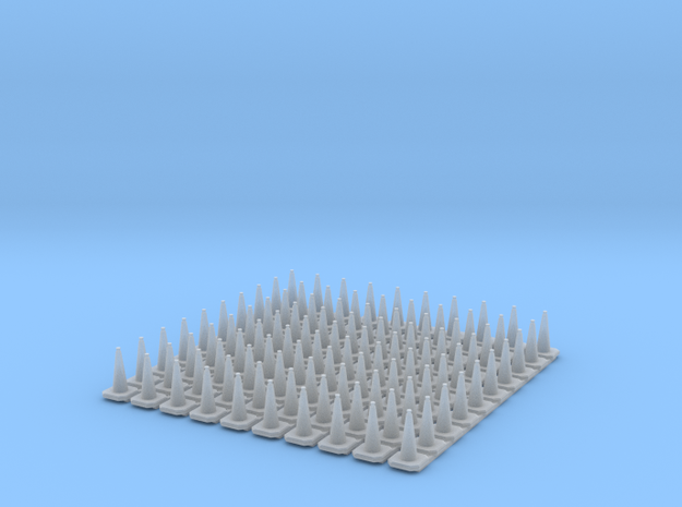 N Scale Britsh Standard 750mm Traffic Cones in Frosted Ultra Detail