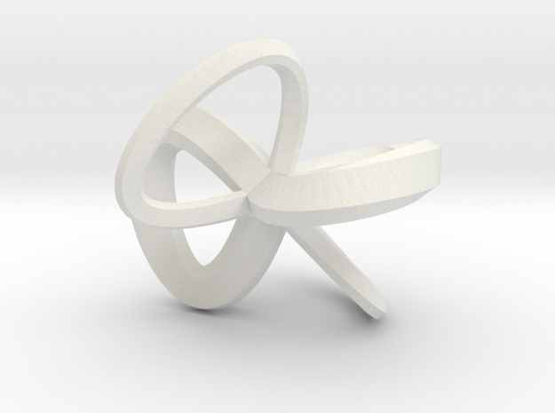 1 Inch Solid Mobius in White Natural Versatile Plastic