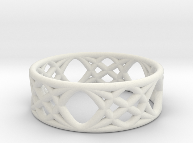 Sine Ring Flat in White Natural Versatile Plastic