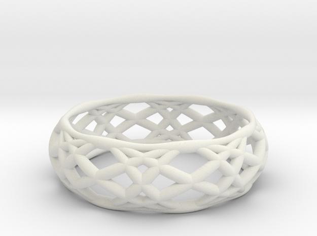 Sine Ring Bulge in White Natural Versatile Plastic