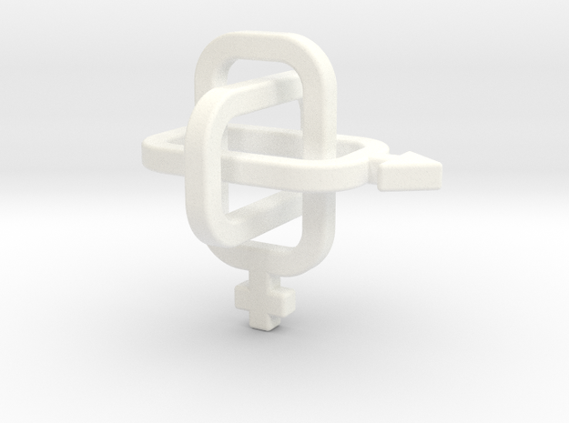 female/male Borromean rings in White Processed Versatile Plastic