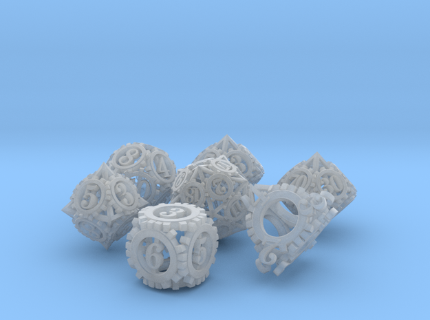 Steampunk Gear Dice Set 3d printed