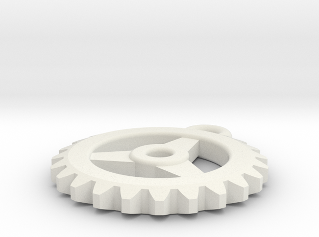 Gear Pendant - Three in White Natural Versatile Plastic