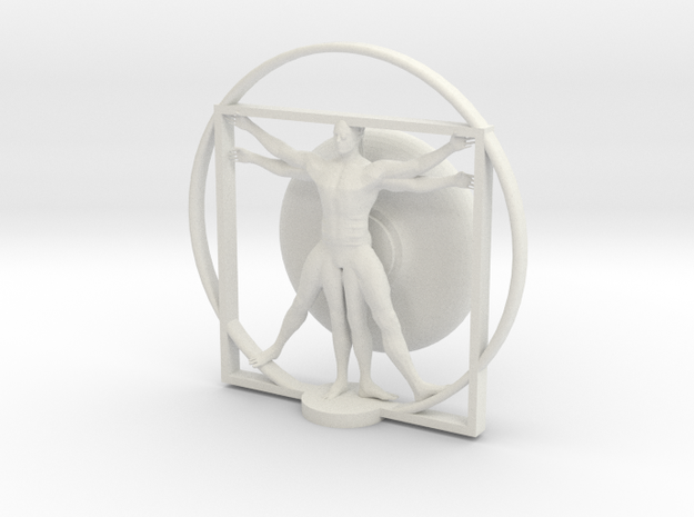Cyborg Vitruvian man in White Natural Versatile Plastic