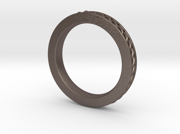 stackable band size 6 in Polished Bronzed Silver Steel