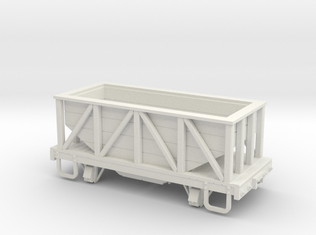 On30 14ft 4w wood hopper car in White Strong & Flexible
