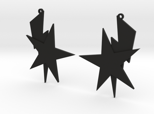 Bolt and Star Earrings 3d printed