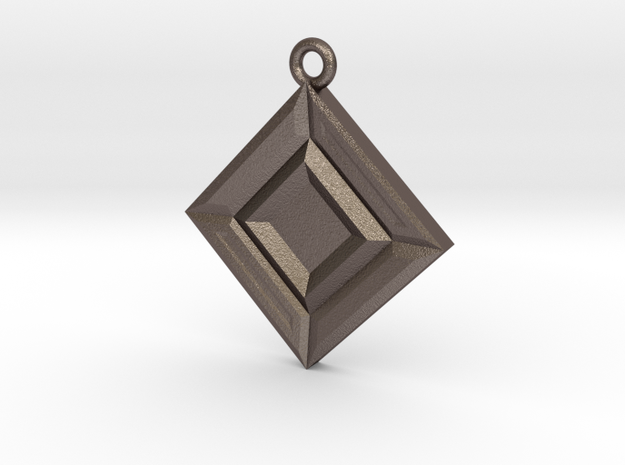 Faceted Opposites Diagonal Pendant  in Polished Bronzed Silver Steel