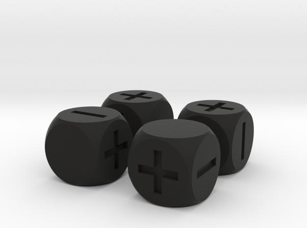 Basic Fudge Dice SOLID (x4) Fate dF 3d printed