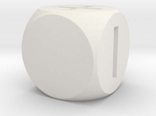 Basic Fudge Dice SOLID (x1) Fate dF in White Strong & Flexible