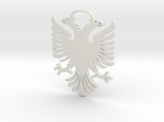 Double Headed Eagle -  key chain / hanger in White Strong & Flexible