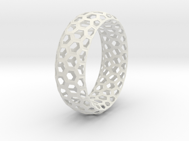 Hexagon Pattern Bracelet Thin Version in White Strong & Flexible