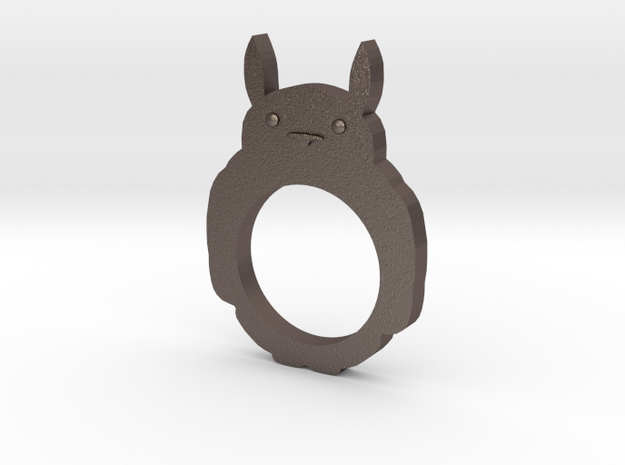 Totoro 2D Ring - Size 8 in Polished Bronzed Silver Steel