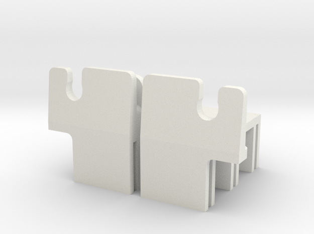 MR02 Side Clips in White Natural Versatile Plastic