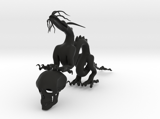 """5"""" Chinese Dragon With Human Skull Pose1 3d printed"""