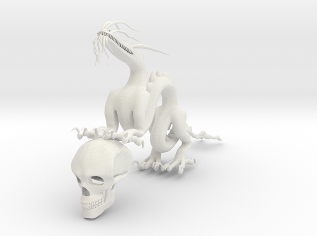 "5"" Chinese Dragon With Human Skull Pose1 in White Natural Versatile Plastic"