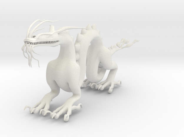 "6"" Chinese Dragon Pose1 in White Natural Versatile Plastic"