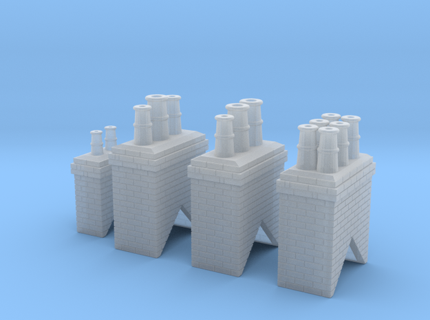 Chimney Types 1,2,3 & 4 N Scale in Smooth Fine Detail Plastic