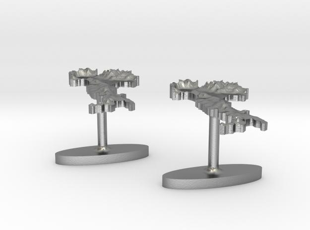 Italy Terrain Cufflink Pair - Flat 3d printed