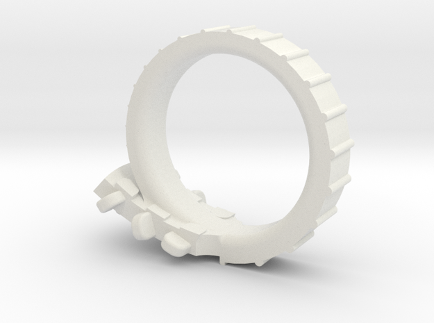 Folk Guitar Ring Size 6 (US) in White Natural Versatile Plastic