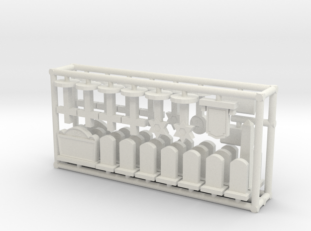 HO scale cemetery set 3d printed