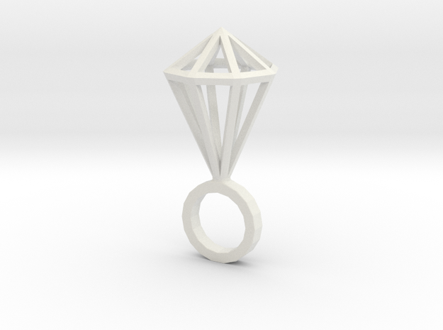 "Hexa Diamond size M (6 1/4"") in White Natural Versatile Plastic"