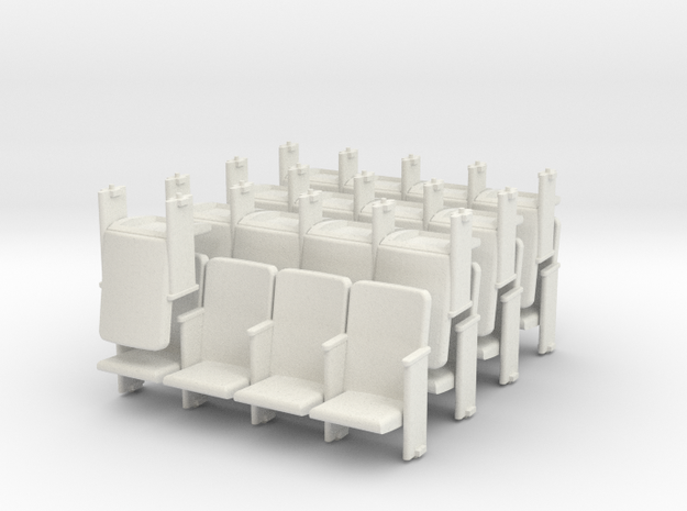 Theater Seats Ver E O Scale 4x7 and 1 single in White Strong & Flexible