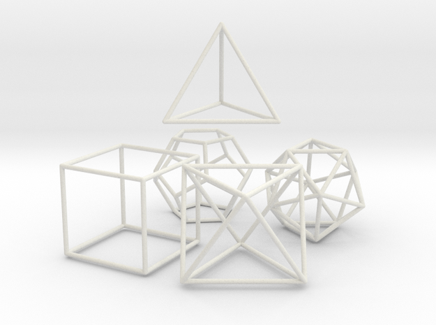 5 Platonic Solids - 35mm in White Natural Versatile Plastic