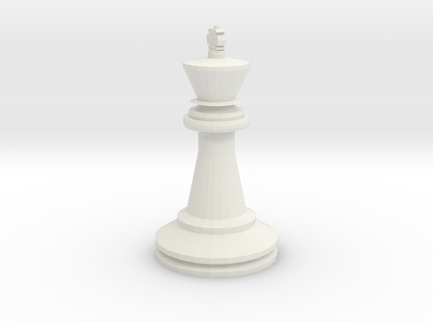 Large Staunton King Chesspiece in White Natural Versatile Plastic