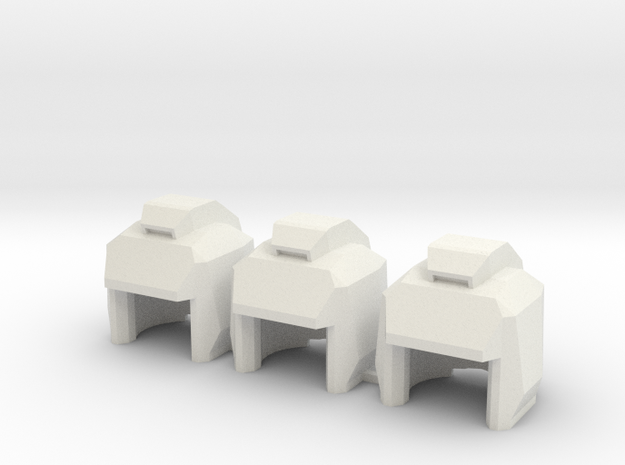Robo Helmets: Triplet Set (11mm Diameter) in White Natural Versatile Plastic