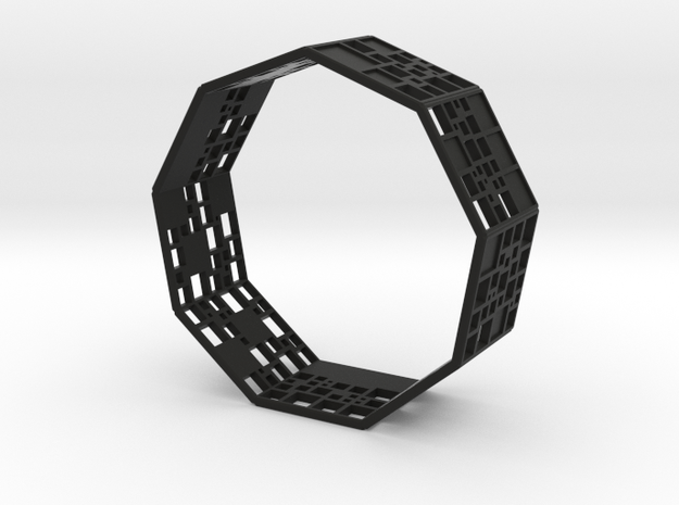 SPSS Bracelet (9 differently dissected squares) in Black Natural Versatile Plastic
