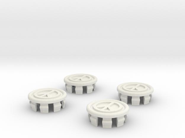 4 X Toyota Prius G2 Wheel Center Cap - Peace in White Natural Versatile Plastic