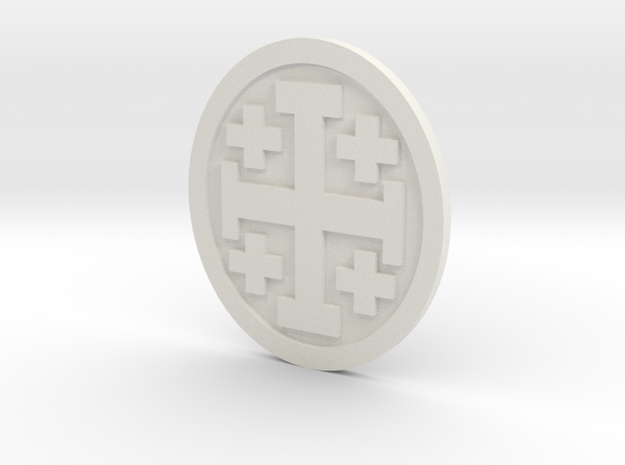Crusader Cross Lapelforshapeways in White Natural Versatile Plastic