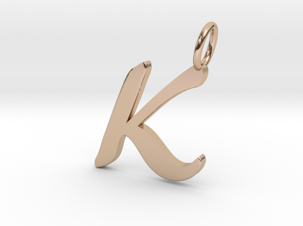 K Classic Script Initial Pendant Letter  in 14k Rose Gold
