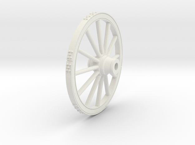 Wagon wheel 13.4cm in White Natural Versatile Plastic