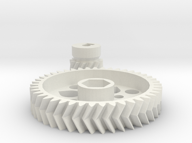 Extruder Gears in White Natural Versatile Plastic