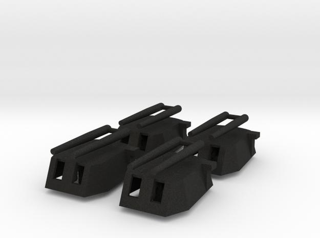 Cañón grande con 2 tubos (x4) in Black Acrylic