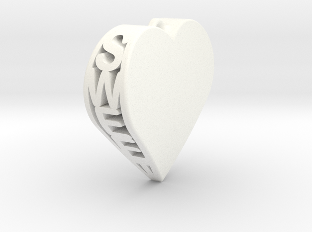 Sweet Heart Pendant in White Processed Versatile Plastic